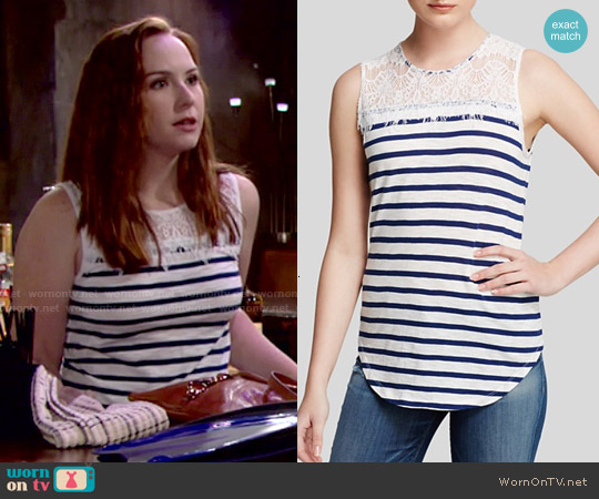 Generation Love Lace Yoke Stripe Top worn by Camryn Grimes on The Young & the Restless
