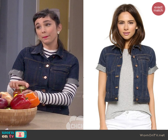 Genetic Los Angeles Blondie Short Sleeve Denim Jacket worn by  Molly Ephraim on Last Man Standing