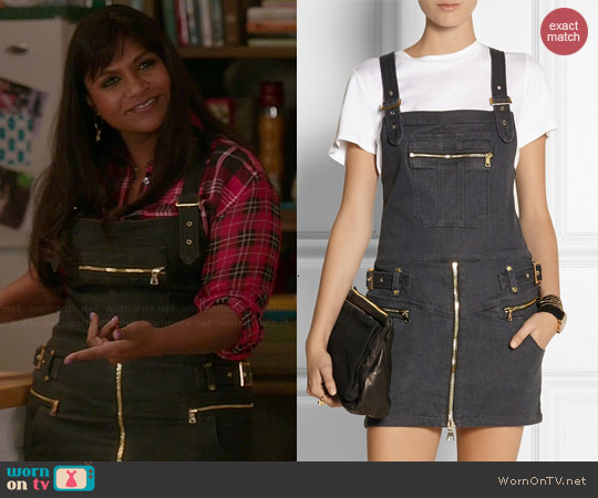 Genetic x Liberty Ross Vivid Skirt Stretch Denim Mini Dress worn by Mindy Kaling on The Mindy Project