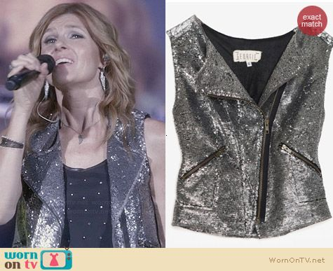 Georgie Sequin Moto Vest worn by Connie Britton on Nashville