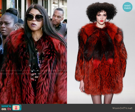 Georgine Studio Fall 2015 Red Fur Coat worn by Taraji P. Henson on Empire
