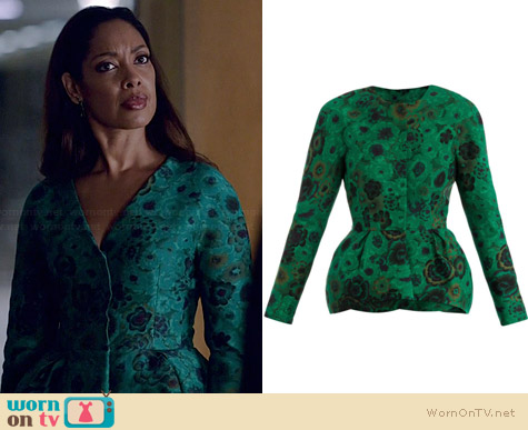 Giambattista Valli Floral Jacquard Peplum Jacket worn by Gina Torres on Suits