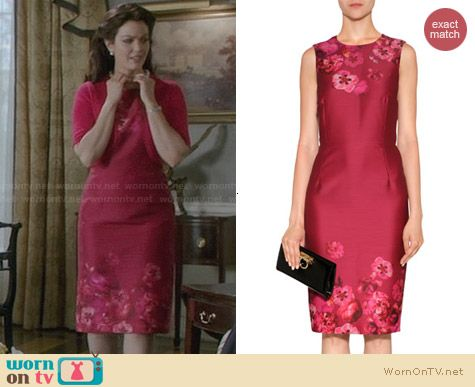 Giambattista Valli Pink Floral and Butterfly Print Dress worn by Bellamy Young on Scandal