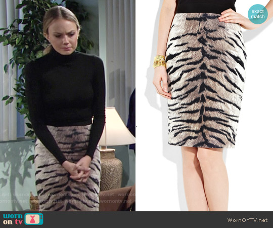 Giambattista Valli Cotton and Silk-blend Tiger-print Pencil Skirt worn by Abby Newman on The Young & the Restless