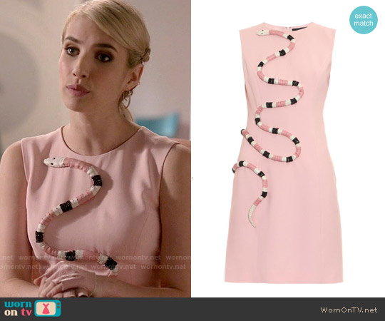 Giles 3D Snake Crepe Dress worn by Emma Roberts on Scream Queens