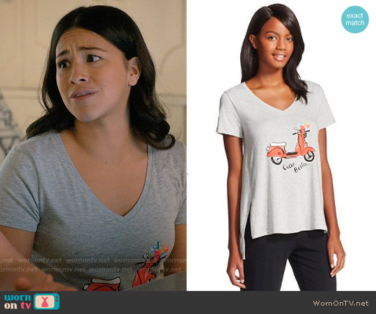 Gilligan & O'Malley Scooter Knit Tee worn by Gina Rodriguez on Jane the Virgin