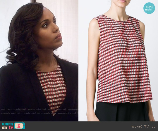 Giorgio Armani Pleated Gingham Top worn by Kerry Washington on Scandal