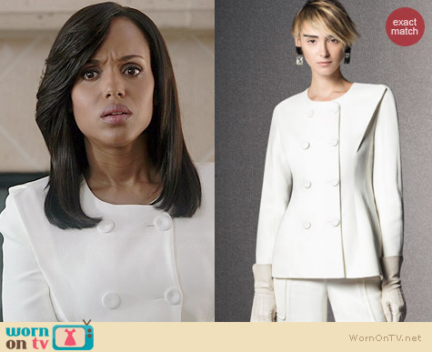 Giorgio Armani Pre-Fall 2014 White Double Breasted Jacket worn by Kerry Washington on Scandal