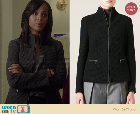 Giorgio Armani Zipped Knit Jacket worn by Kerry Washginton on Scandal