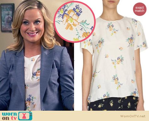Girl. By Band of Outsiders Habutai Blouse worn by Amy Poehler on Parks & Rec