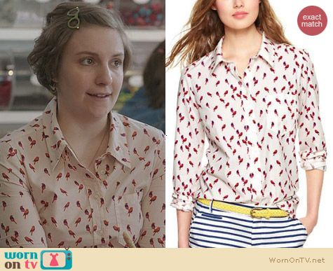 HBO Girls Fashion: Gap Fitted Boyfriend Shirt in Bird Print worn by Lena Dunham