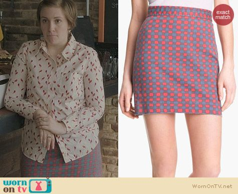Fashion of HBO Girls: Marc by Marc Jacobs Molly Denim Skirt worn by Lena Dunham
