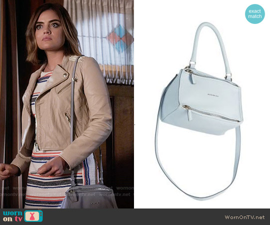 Givenchy Pandora Mini Leather Shoulder Bag worn by Lucy Hale on PLL
