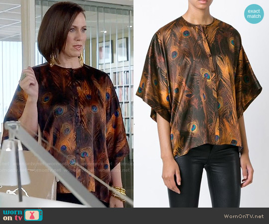 Givenchy Peacock Feather Print Top worn by Miriam Shor on Younger