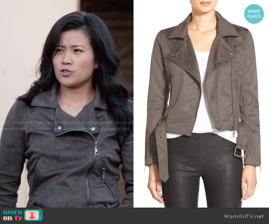 Glamorous Faux Suede Moto Jacket worn by Jadyn Wong on Scorpion