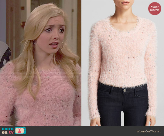 Glamorous Fuzzy Crop Sweater in Speckled Pink worn by Peyton List on Jessie