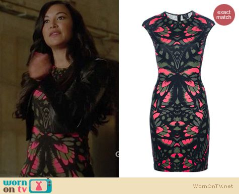 Glee Fashion: Alexander McQueen Butterfly Camouflage print dress worn by Naya Rivera