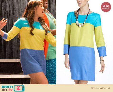 Glee Fashion: Anthropologie Brightblock shift dress worn by Jenna Ushkowitz