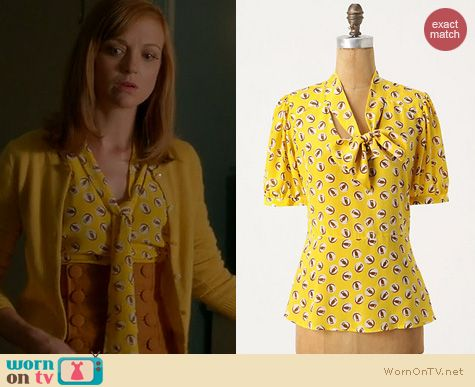 Glee Fashion: Anthropologie Lemon Liftoff Blouse worn by Jayma Mays