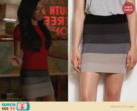 Glee Fashion: Armani Exchange Ombre Bandage Skirt worn by Naya Rivera
