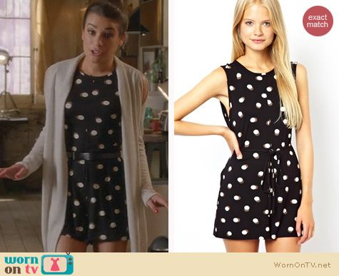 Glee Fashion: ASOS Shift Playsuit in Spot Print worn by Lea Michele