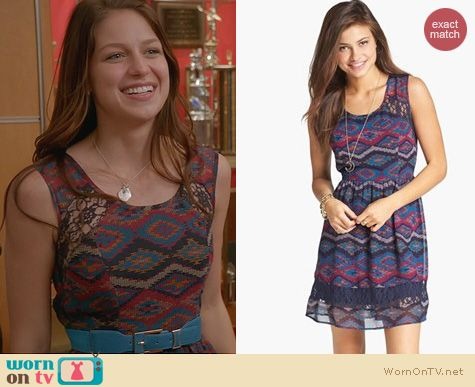 Glee Fashion: Band of Gypsies Lace Inset Print Fit & Flare Dress worn by Marley Rose