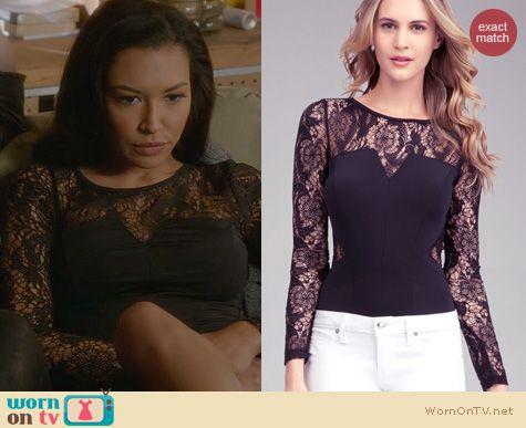 Glee Fashion: Bebe Lace Yoke Long Sleeve bodysuit worn by Naya Rivera