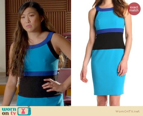 Glee Fashion: Calvin Klein U-Neck Colorblock Dress in Cerulean Atlantis worn by Jenna Ushkowitz