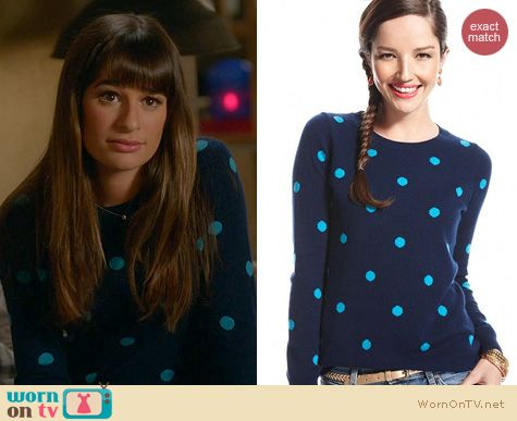 Glee Fashion: Charter Club Polka Dot Sweater worn by Lea Michele