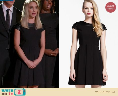 Glee Fashion: Cynthia Steffe Jade Faux Leather Shoulder Dress worn by Becca Tobin