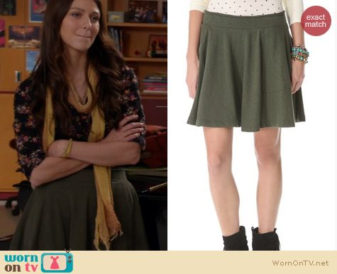 wornontv marley�s army green flared skirt and black