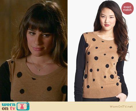 Glee Fashion: Halogen Camel Polka Dot Sweater worn by Lea Michele