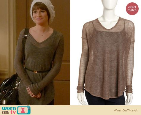 Glee Fashion: Helmut Lang Alpaca Knit V-neck Sweater worn by Lea Michele