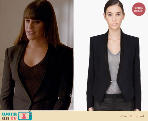 Glee Fashion: Helmut Lang black suede trim blazer worn by Lea Michele