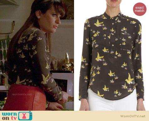 Glee Fashion: Mansfield bird print blouse worn by Lea Michele