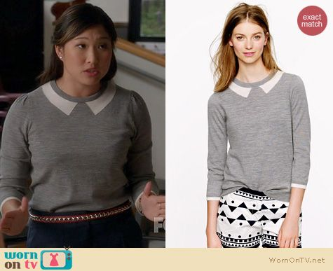 Glee Fashion: J. Crew Trompe L'Oeil Sweater worn by Jenna Ushkowitz