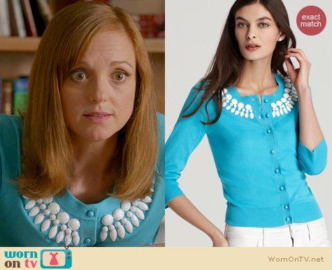Glee Fashion: Kate Spade Beaded Kati Cardigan worn by Jayma Mays