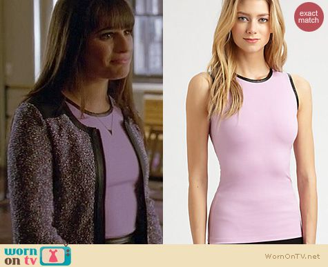 Glee Fashion: L'Agence leather trim top worn by Lea Michele