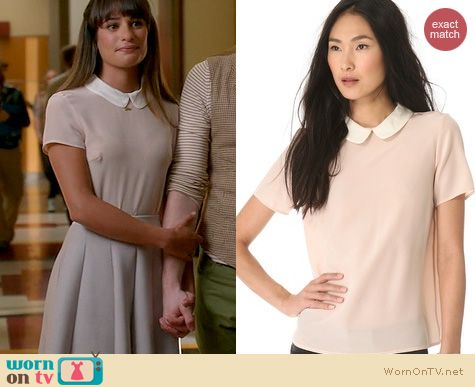 Glee Fashion: Marc by Marc Jacobs Alex Collar top in Vintage Rose worn by Lea Michele