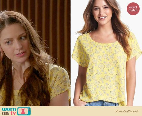 Glee Fashion: Pleione Bicycle Print Scoop Neck Blouse worn by Melissa Benoist