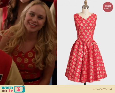 WornOnTV: Kitty's red and gold patterned dress on Glee ...