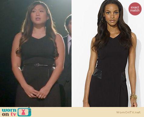 Glee Fashion: Ralph Lauren Leather Trimmed V-neck Dress worn by Jenna Ushkowitz