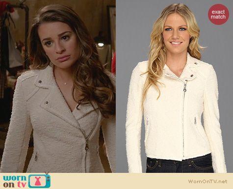 Glee Fashion: Rebecca Taylor Boucle Moto Jacket worn by Lea Michele