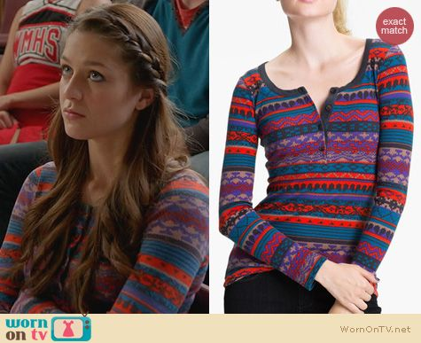 Glee Fashion: Splendid Breckenridge Henley Thermal worn by Melissa Benoist