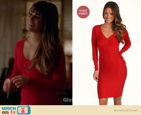 Glee Fashion: Ted Baker Aspin dress in red worn by Lea Michele