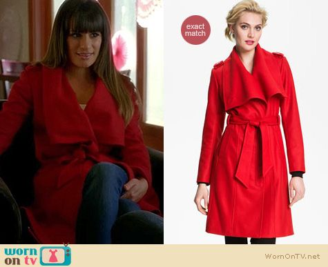 Glee Fashion: Ted Baker long wrap coat worn by Lea Michele