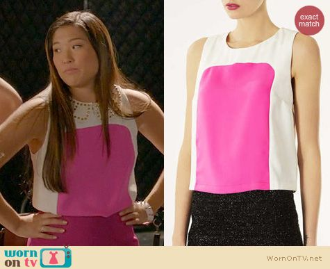 Glee Fashion: Topshop colorblock shell worn by Jenna Ushkowitz