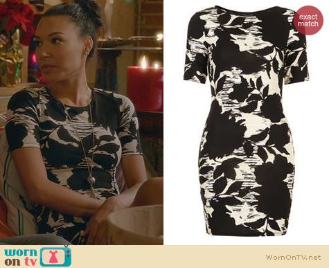 Glee Fashion: Topshop Dark Flower mini Dress worn by Naya Rivera