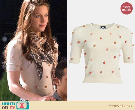 Glee Fashion: Viva Vena 'Used Bookstore' pompom pullover worn by Melissa Benoist