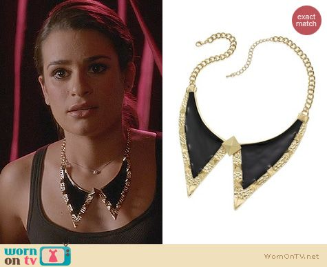 Glee Jewelry: KH Studio Gold Tone Peter Pan Collar Bib Necklace worn by Lea Michele